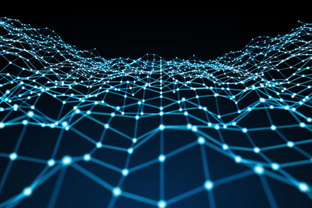 Floating white and blue dot network on blue background 3D rendering Stock Photo