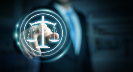 Businessman on blurred background using law protection right 3D rendering Foto de archivo