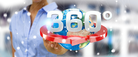 Woman on blurred background touching 360 degree 3D render icon with her finger