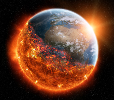 ozone layer: View of planet earth burning in space 3D rendering elements of this image furnished by NASA Stock Photo