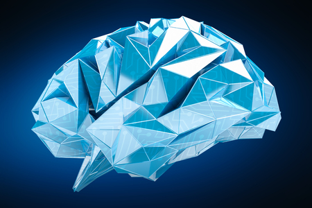 cerebro blanco y negro: Digital x-ray human brain on blue background 3D rendering