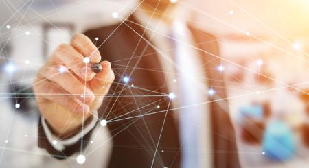 international internet: Dot flying network drawn by businessman on blurred background 3D rendering