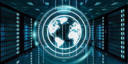 international internet: Digital white Earth network flying over server room data center 3D rendering Stock Photo