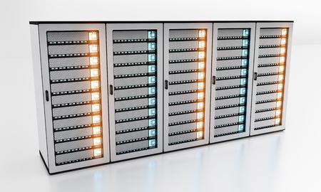 domains: White server room data center storage with blue lights 3D rendering