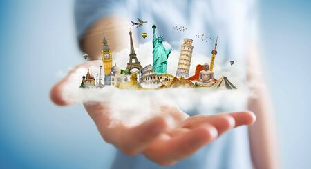 Businessman on blurred background holding a cloud full of famous monuments in his hands 3D rendering Stock Photo