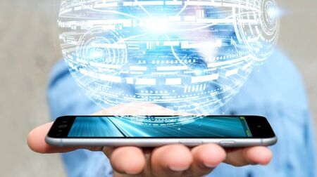 banco mundial: Businessman holding white and blue hologram sphere over mobile phone 3D rendering