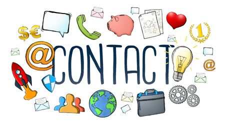 customer: Manuscript e-mail contact text with icons on white background Stock Photo