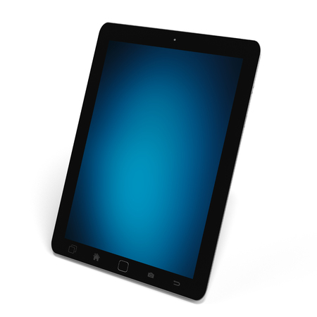 smart: Modern digital black tablet on white background with blue screen 3D rendering