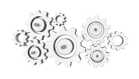 Digital gear icons on white background 3D rendering