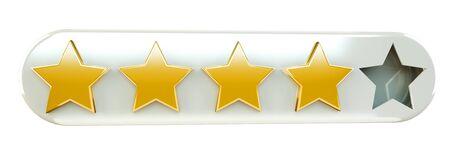 Five digital gold ranking stars on white background 3D rendering