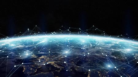 Gegevensuitwisseling en wereldwijd netwerk over de hele wereld 3D-rendering elementen van deze afbeelding geleverd door NASA Stockfoto - 73714950