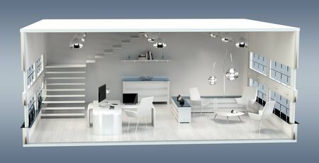 home office interior: 3D rendering office plan on grey background