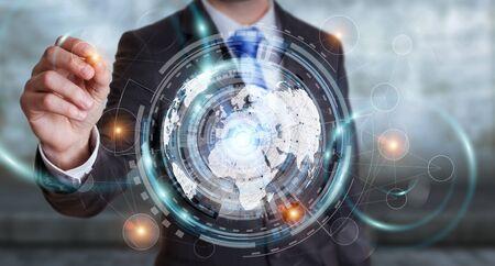 international internet: Businessman moving digital datas with a tactile pen on hologram screen