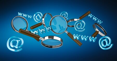 3D rendering contact icon and magnifying glass flying on blue background