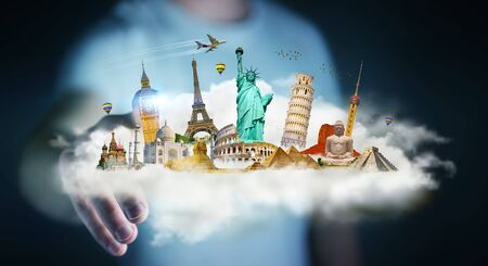 Businessman on blurred background touching a cloud full of famous monuments with his finger 3D rendering