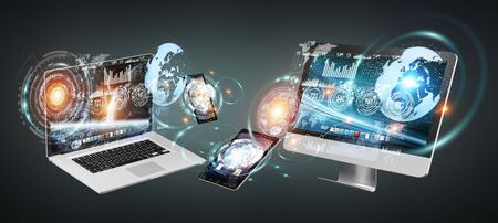 laptop: Tech devices with icons and graphs flying on dark background 3D rendering Stock Photo