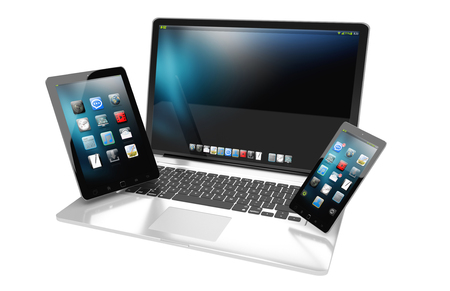 Modern laptop mobile phone and tablet interacting with each other 3D rendering Stock Photo