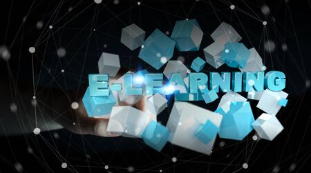 study: Woman holding on blurred background touching floating 3D render e-learning presentation with cube