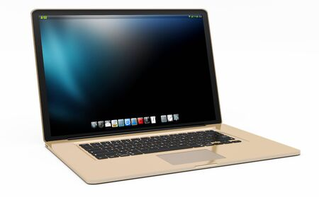 digital background: Modern digital gold and black laptop on white background 3D rendering