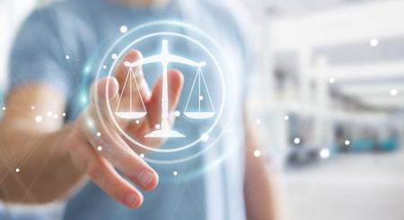 Geschäftsmann auf unscharfen Hintergrund mit Rechtsschutz rechts 3D-Rendering Standard-Bild - 74083682