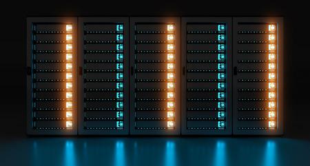 파란 불빛 3D 렌더링과 함께 어두운 서버 실 데이터 센터 스토리지