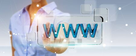 Businesswoman using tactile interface web address bar to surf on internet 3D rendering