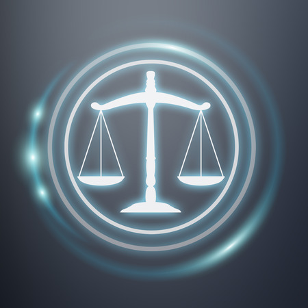 Law protection right icons on grey background 3D rendering Stock Photo