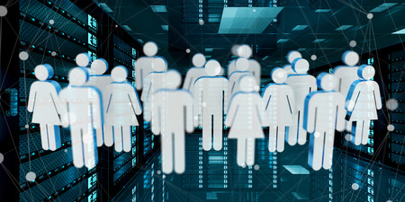 security: White and blue group of people icons flying over server room data center 3D rendering