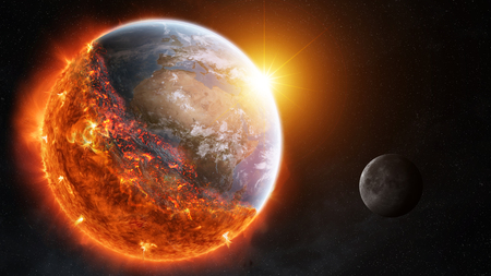 View of planet earth burning in space 3D rendering elements of this image furnished by NASA Stock Photo