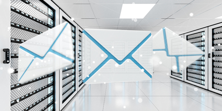 contact: Digital white and blue emails flying over server room data center 3D rendering