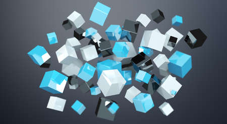 communication: Floating blue shiny cube network 3D rendering on dark background Stock Photo