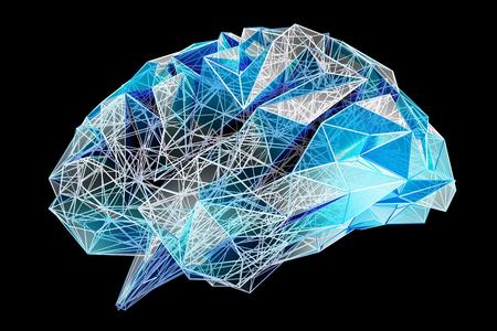 Digital x-ray human brain on black background 3D rendering