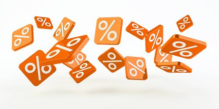 Orange sales icons floating in the air on white background 3D rendering