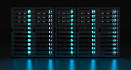 Dark server room data center storage with blue lights 3D rendering