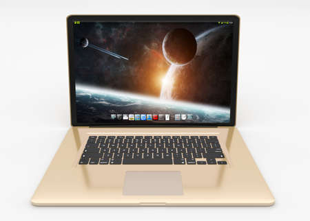 open notebook: Modern digital gold and black laptop on white background 3D rendering
