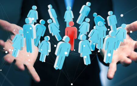 contact: Businessman on blurred background holding 3D rendering group of people in his hand