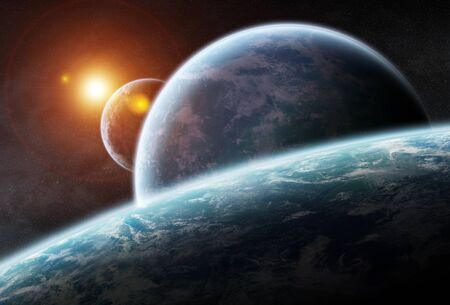 stars: Distant planet system in space 3D rendering elements of this image furnished by NASA Stock Photo