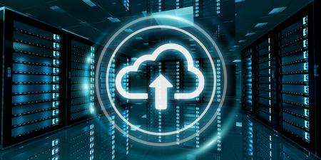 Sala de servidores centro de datos con el icono de la nube azul flotando dentro de la representación 3D Foto de archivo - 74646521