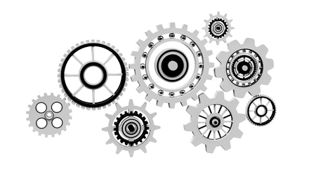 Floating gear grey icons on white background 3D rendering