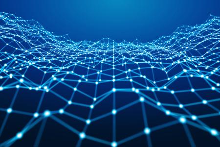 白と青のドット ネットワークを浮かぶ青い背景 3 D レンダリング