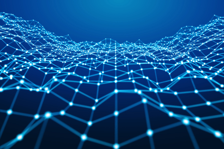 Floating white and blue dot network on blue background 3D rendering Banque d'images