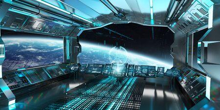 Raumschiff Innenraum mit Blick auf Raum und Planeten Erde 3D Rendering Elemente dieses Bildes von der NASA eingerichtet