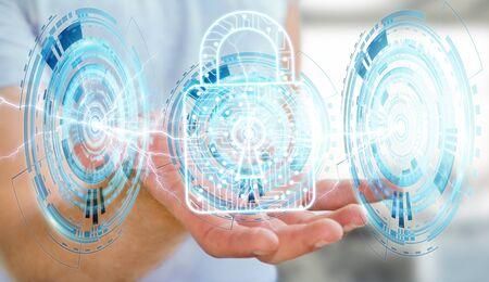 security: Businessman on blurred background using digital padlock to secure his datas 3D rendering