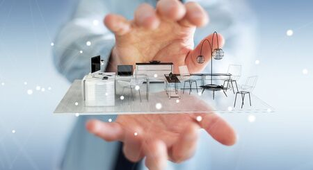 real estate house: Businessman on blurred background holding white 3D rendering apartment
