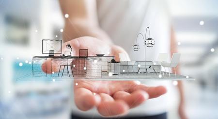 Uomo d'affari su sfondo sfocato azienda bianco rendering 3D appartamento
