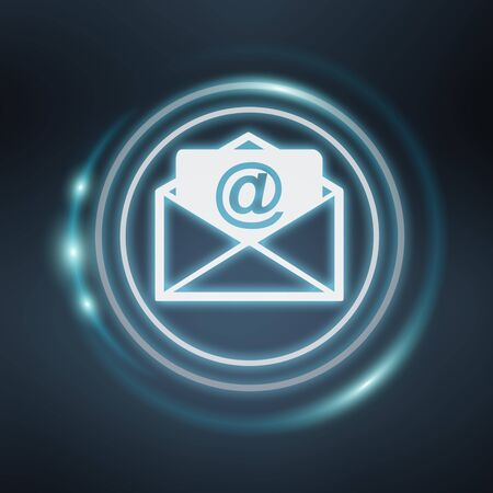 letter: White and glowing blue email icon on blue background 3D rendering Stock Photo