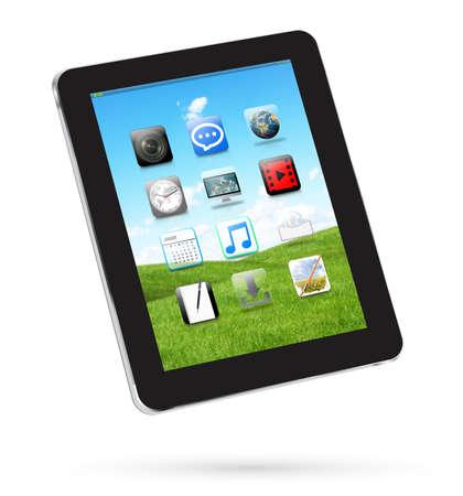 telephone: Modern digital black tablet on white background 3D rendering