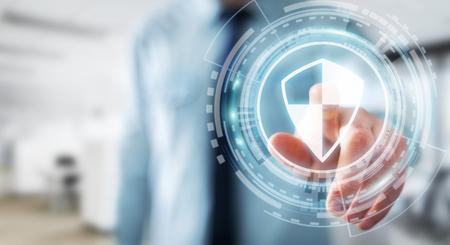 실업가 자신의 데이터를 보호하기 위해 방패 안전 보호를 사용하여 배경을 흐리게 3D 렌더링 스톡 콘텐츠