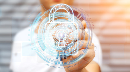 Businessman on blurred background using digital padlock to secure his datas 3D rendering