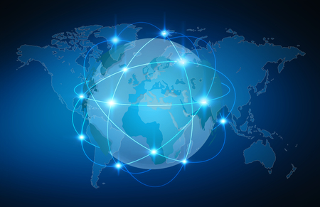 communication: Blue global network over planet earth on blue background 3D rendering Stock Photo
